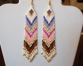 Native American Style Beaded Earrings in Purple Pink, Brown Shoulder Dusters Southwestern, Boho, Gypsy, Brick Stitch, Peyote, Ready to Ship