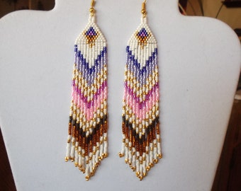 Native American Style Beaded Earrings in Purple Pink, Brown Shoulder Dusters Southwestern, Boho, Gypsy, Brick Stitch, Peyote, Great Gift