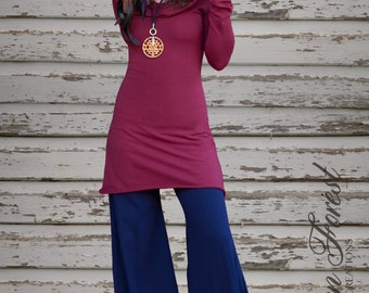 Boatneck Hoodie Dress ~ with long sleeves ~ Elven Forest, Elven Dress, Cowl Hood, red riding hood, boho, bohemian, tribal, pixie, mini dress