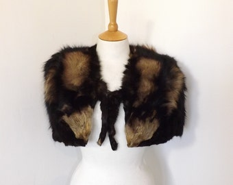 Vintage 1940s real cross fox fur cape stole wrap shrug brown striped