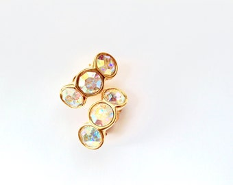 Signed Swarovski Crystal Earrings Aurora Borealis Rainbow Finish Vintage Designer Fashion Jewelry