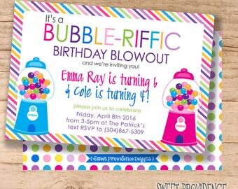 Bubble Gum Birthday Invitation / Combo Birthday invitation / Bubble Invitation / birthday Invitation