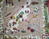 NEW YORK CITY Vintage 1940s 1950s Tablecloth 40s 50s Table Cloth Housewares Kitchen Manhattan Island Times Square Harlem Coney Island Kitsch