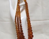 Vintage Amber Glass Beads Necklace Faceted Beads Sterling Silver Clasp Triple Strand Three Strand Costume Jewelry FREE SHIPPING