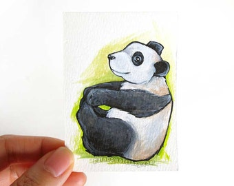 Baby Panda Bear ACEO Original Art Card, Small Painting, ATC, Animal Lover Gift, Zoo Animal Nursery Decor, Acrylic Painting