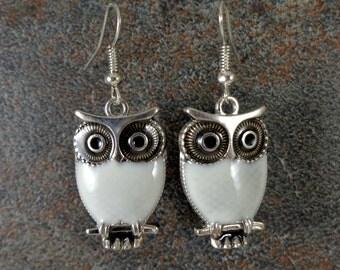 Owl Earrings, Animal Earrings, White, White Owls, Enamel Earrings, Silver, Cute Earrings, Owl Charm Earrings, Owl Jewelry