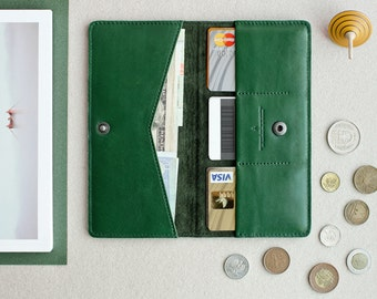 Leather wallet from natural leather // PEAK (Green)