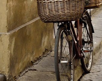 Bike Art Whimsical Italy Photography Vintage Bicycle Photo Print Rustic Wall Art Bicycle Lover Brown Cream Retro Bike Art Basket Cycle Decor