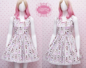 READY STOCK Turquoise Lolita Dress Paris Chocolate Kawaii - Sweet Lolita Dress - Tea Party Dress