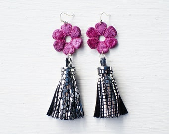 Fuchsia Lace with Silver Tassel Earrings