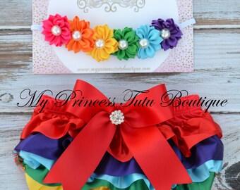 Rainbow Satin Bloomer Set, Baby Bloomers, Cake Smash Bloomer Set, Rainbow Flower Headband, Diaper Cover, Satin Bloomers