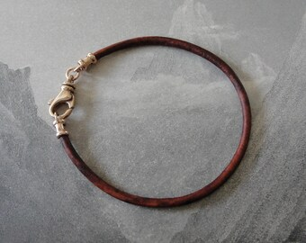 Leather Cord Bracelet Vintage Brown with bronze swivel clasp for RQP Studio wax seal jewelry - 3mm wide