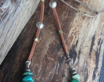 """Turquoise necklace **ON SALE** Sterling Silver, diamond cut brass beads, brown faux suede - Boho - 28.5"""" long - Animal friendly gypsy"""