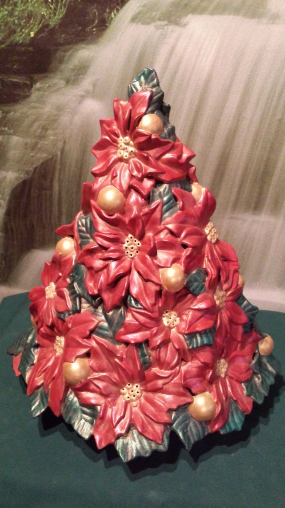 "Lovely 14"", Ceramic Christmass Tree, Rare, Vintage Poinsettia tree, Finished as requested,Flower Christmas tree, light kit included"