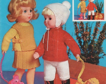 1970s Knitting Pattern for 10 to 20 inch Doll's Clothes