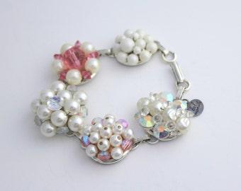 Pearl Bracelet, Recycled Bracelet, Upcycled Recycled Repurposed Jewelry, Vintage Pearl Bracelet, Flower Bracelet, Pink Pearl Jewelry