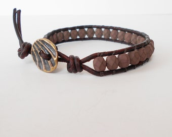 brown leather wrap bracelet, beaded stacking bracelet, friendship bracelet, southwestern boho cuff, gift for her him
