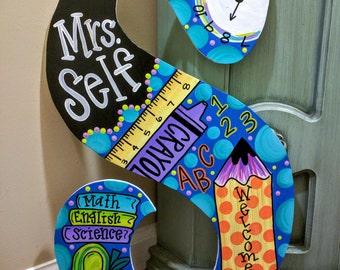 Large Teacher School Door Hanger Letters