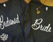 Custom Bride, Bridesmaid, Maid, Matron of Honor Long Sleeve Vneck Shirt - Monogrammed Bachelorette and Wedding Party Shirt
