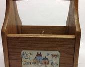 Reserved for Pamela Wooden Silverware Flatware Caddy in Heartland Design by International  Good Wood 9 x 7 x 6 RARE
