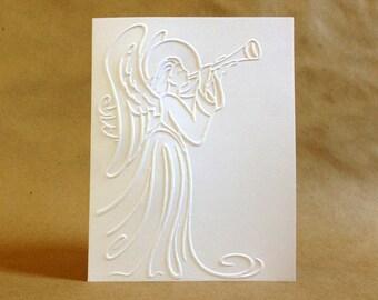 Angel Christmas Card Set - White Christmas Card Set - Embossed Christmas Cards - Christmas Thank You Cards - Christian Christmas Cards