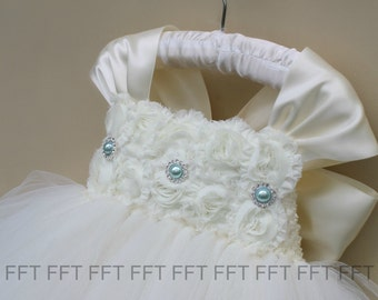 Ivory and Aqua Mint Flower Girl Dress With Cap Sleeves