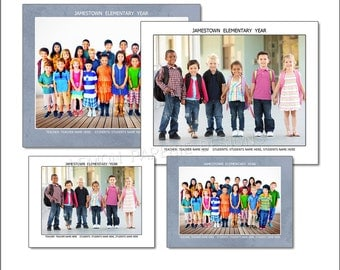 8x10 and 5x7 - School Memory Mate Template - INSTANT DOWNLOAD - SCH3