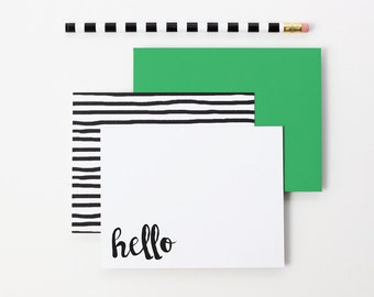 Personalized Stationery Set Hello Note Cards Black and White Stripes Thank You Notes Custom Stationary Blank Note Cards Bridesmaid Gifts