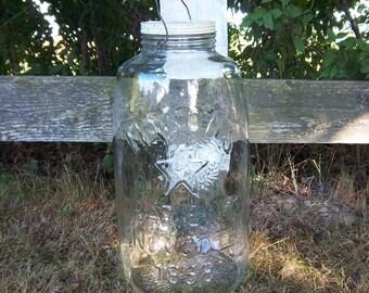 Large 5 Gallon Mason Jar Mason's Patent Nov.1858 Eagle Star with Lid Vintage Canning Jar Pickle Jar