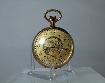 Antique Elgin Pocket Watch 1906 Grade 324 Unique and Ornate Dial 7 Jewel Size 0s Runs Well Collectible Quality Engraved Back Open Faced