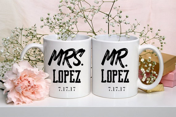 Husband and Wife mugs, Mr and Mrs Mug, Engagement Gift, Wedding Coffee Mug, Mr and Mrs Cup, Wedding Gifts for Couple, NewlyWed gift, Custom
