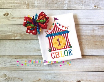 Girls' Monogrammed Rainbow Circus Birthday Shirt or Onesie & Rainbow Korker Hair Bow