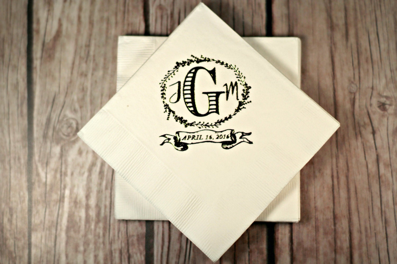 personalized wedding napkins custom wedding monogram foil