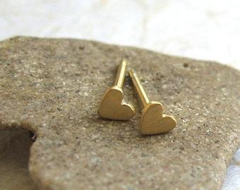 14K Solid gold tiny heart studs , Gold heart post earrings , Handmade by Adi Yesod