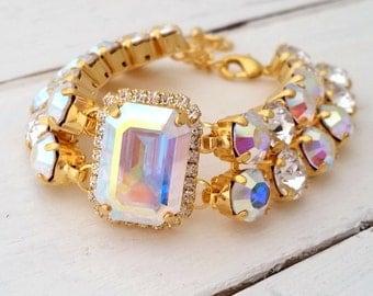 Aurora Borealis crystal bracelet,Aurora Borealis Bridal bracelet,Bridesmaids gift,Tennis bracelet,Octagon bracelet, Gold Silver,Custom made