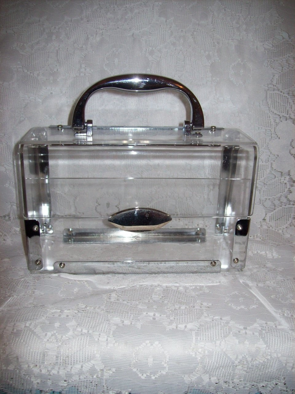 Vintage 1960s Ladies Clear Plastic Box Purse Only 10 Usd