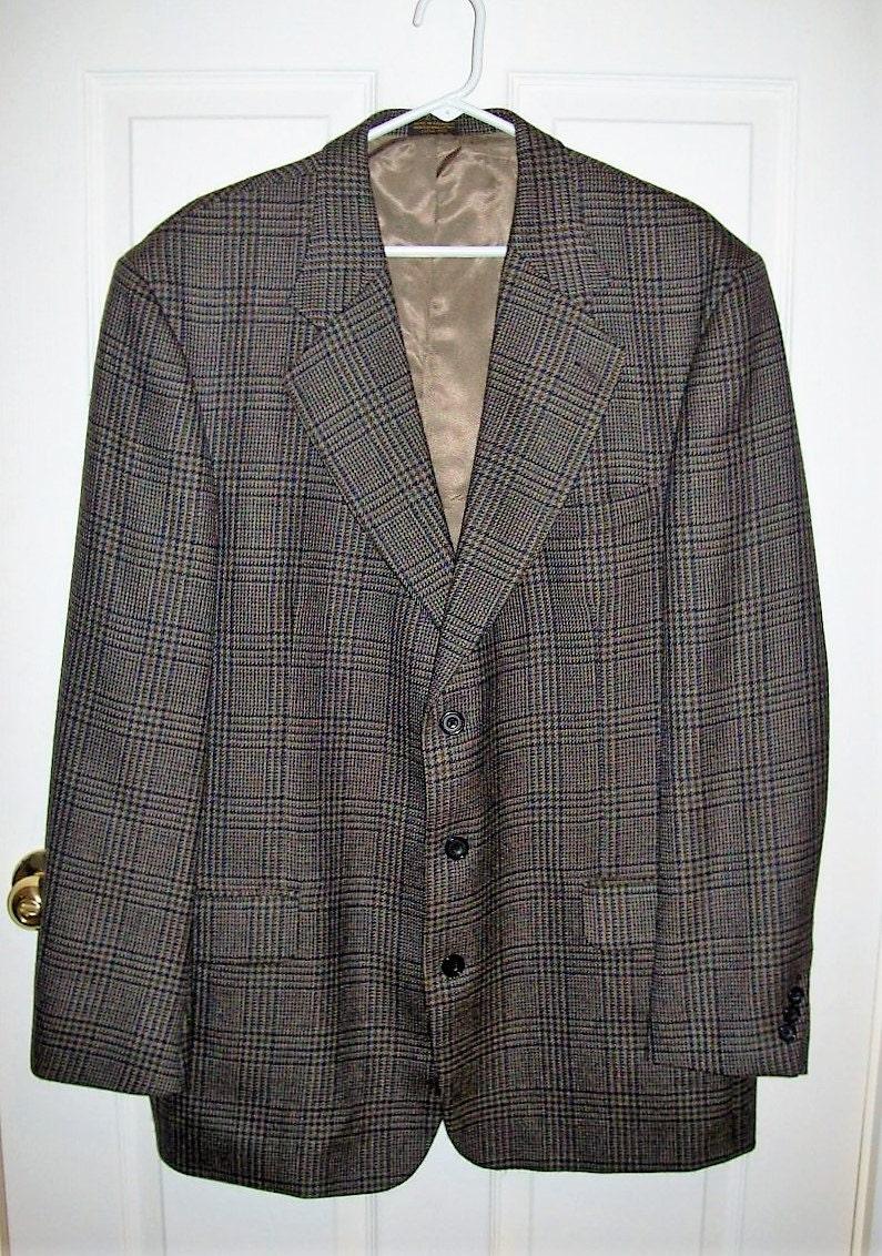 vintage mens brown wool plaid sport coat blazer by oscar