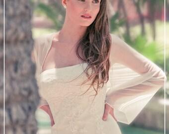 Plus Size Ivory Bridal Shrug, 4 Options Wedding Wrap- Shawl, Shrug, Twisted Shawl And Loop Scarf. Ivory Wedding Sheer Cover Up CF107ps