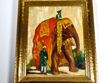 Vintage India Elephant Oil Painting, Vintage red Chinoiserie Oil Painting of elephant