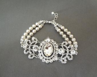 Pearl and crystal bracelet, Brides bracelet, Pearl wedding bracelet, Vintage style pearl bracelet ~ Swarovski pearl bracelet, ANGELINA