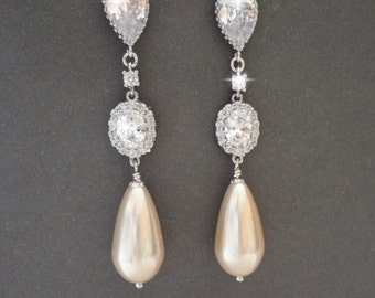 Long, Pearl drop earrings, Creamy, Vintage pearl drops ~ COUTURE pearl earrings, Sparkling Cubic zirconia's ~ Brides earrings ~EXTRAORDINARY