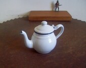 antique enamelware teapot individual 1 cup fat round teapot white with black trim hinged lid