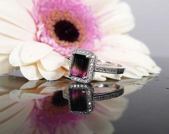 Bi Color Tourmaline, Tourmaline Ring, Tourmaline Sterling Ring, Halo Gemstone Ring, Gemstone Ring, Pink Tourmaline Ring, Gemstone Ring