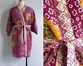 10 to 25% OFF (See Shop) Vintage 80's Batik Tie Dye Rayon Dressing Gown Kimono Robe XS S M L