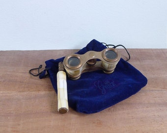 Vintage Antique Mother of Pearl Shell Brass Opera Glasses