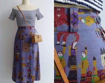 Vintage 80's 'Native American' Chambray Novelty Print Midi Skirt M or L