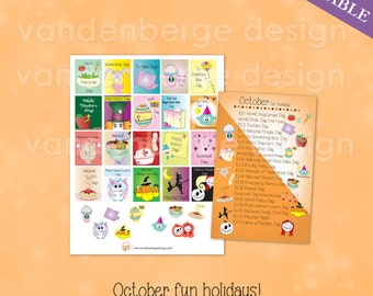 Printable Planner Stickers -October Fun Holidays -Files included for the vertical Erin Condren Life Planner & The MAMBI Happy Planner