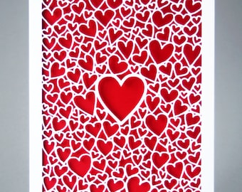 Personalised Papercut Anniversary Card More colours