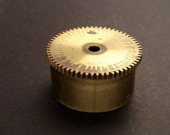 Large Brass Cylinder Gear, Mainspring Barrel from Vintage Clock Movement, Vintage Clockwork Mechanism Parts, Steampunk Art Supplies 03879