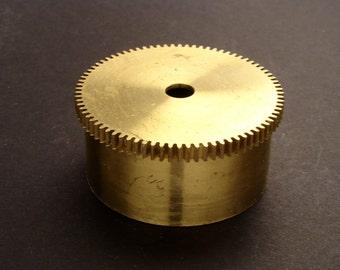 Large Brass Cylinder Gear, Mainspring Barrel from Vintage Clock Movement, Vintage Clockwork Mechanism Parts, Steampunk Art Supplies 03890